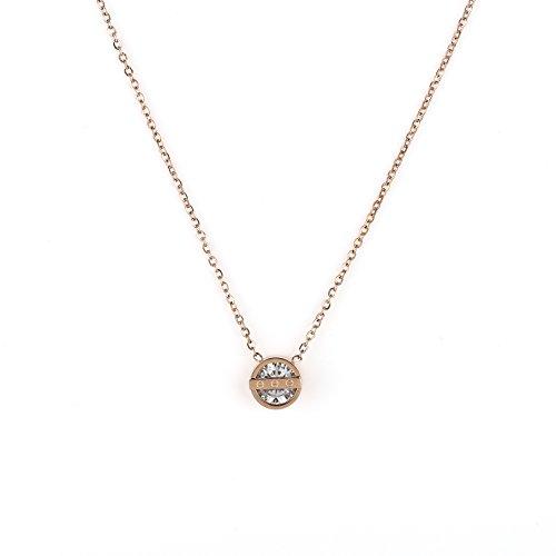 United Elegance Elegant Rose Gold Tone Designer Solitaire Necklace with Screw Design & Swarovski Style Crystal