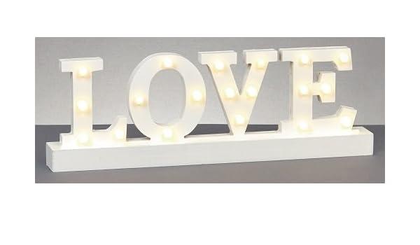 Premier iluminado Cartel de madera letras Love, funciona ...