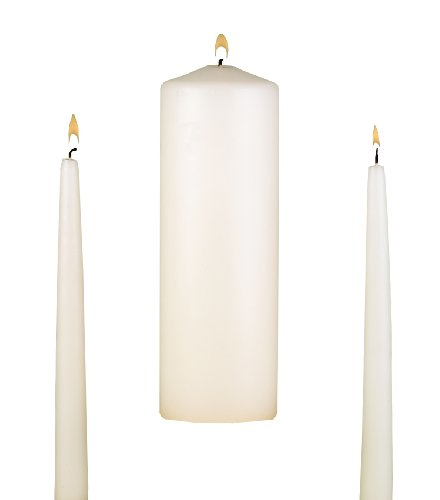 (Hortense B. 95095 Hewitt Wedding Accessories, Unity Candle Set, Ivory, 9-Inch Pillar and 2 10-Inch Tapers)