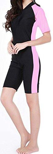 Tueenhuge Fashion Women  One Piece Short Sleeve Unitard Legsuit Swimming Costume  Pink  Medium US Size 4-6   Pink  Medium US Size 4-6   Medium US Size 4-6