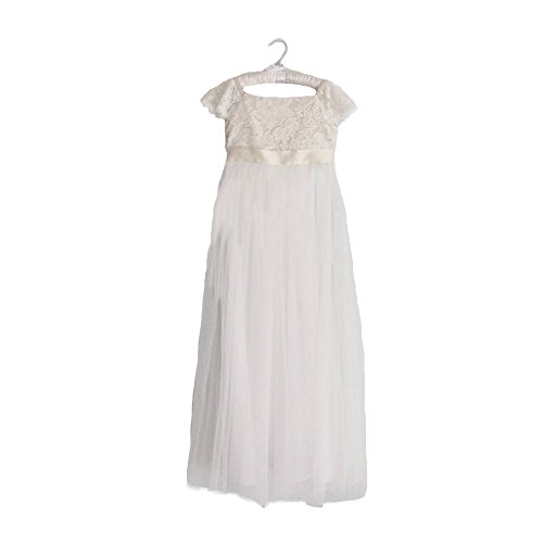 Beestdresses Boho Bodice Lace Flower Girl Dress Cap Sleeve Empire Waist Wedding & Casual Dresses White Top/White skirt-12 (Ivory Lace Empire Waist Dress)
