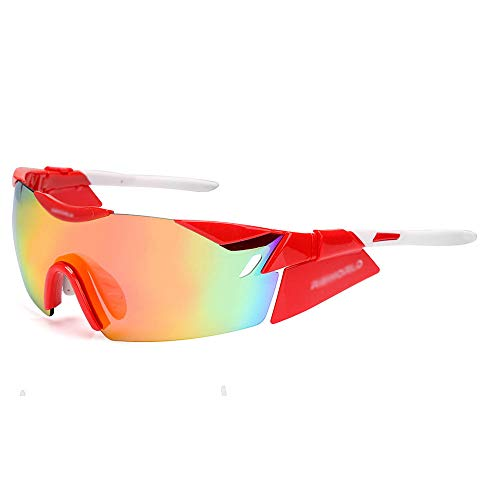 (NDY Goggles, Men and Women, Cycling Glasses, Tour de France Team, Outdoor, Windproof, Ultralight, Sports, Sunglasses, Personality,red )