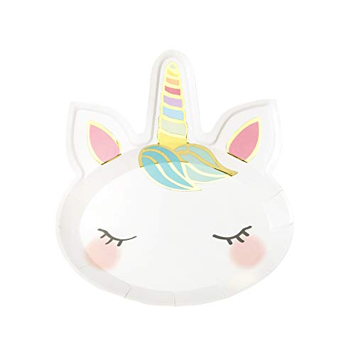 Talking Tables FACE Unicorn Paper Plates Birthday Party Baby Shower, Pack of 8, Width 23cm, 9