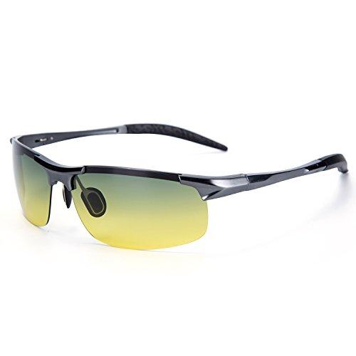 YJMILL New Polarized Sunglasses Retro Pilots Riding Fishing Golf Travel Sports Sunglasses Men And Women 8177-2 (DarkGray-night, - De Armazones Lentes