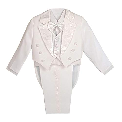 Dressy Daisy Boys' Classic Fit Tuxedo Suit with Tail 5 Pcs Set Formal Suits Wedding Outfit Size 5 White ()
