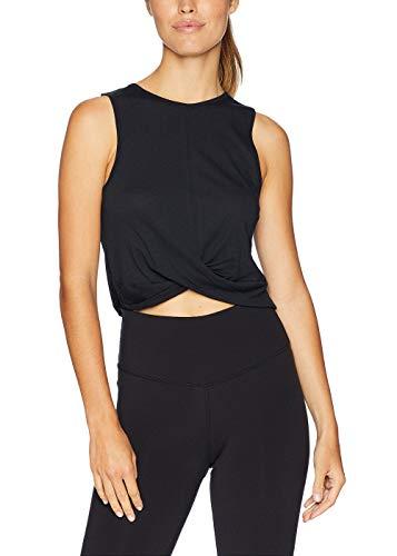 Bestisun Wrap Crop Tank Top for Women Racerback Sleeveless Layering Basic Cropped Sports Tank Exercise Gym Active Shirts Black S