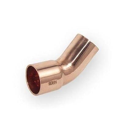 Tubería en codo de cobre arco de soldadura macho de diámetro x 45 grados de ángulo