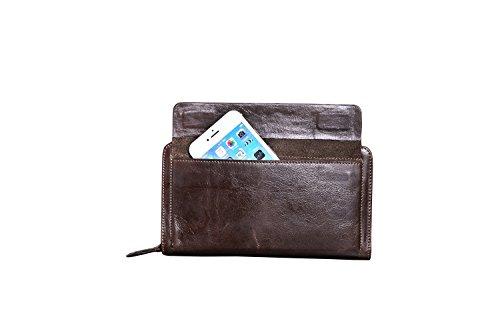 Cartera tarjetas múltiples de cuero piel retro vaca cuero Bags de largo de Posición cremallera Dark de de para hombres Brown de Bolso rprnTqUw