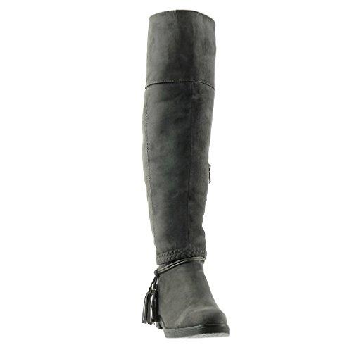Angkorly - Women's Fashion Shoes Boots - cavalier - biker - thong - braided - fringe Block Heel 3 CM Grey MZrR2xbhA