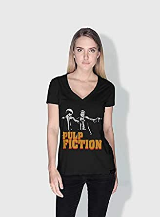 Creo Pulp Fiction Movie Posters T-Shirts For Women - L, Black