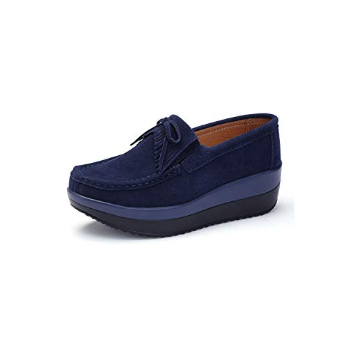 Women Sneaker Ballet Cow Suede Leather Flat Platform Slip On Loafers,Blue 288,7 (Synonyms For The Best Ever)