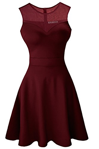 Sylvestidoso Women's A-Line Sleeveless Pleated Little Wine Red Cocktail Party Dress (XS, Wine red)