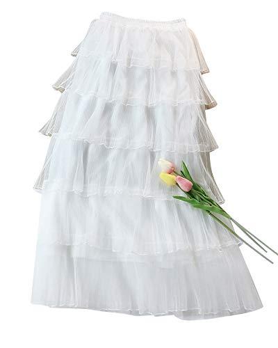 Femme Plage Pliss Jupe Longue Maxi lastique Taille  Volants Jupes Blanc