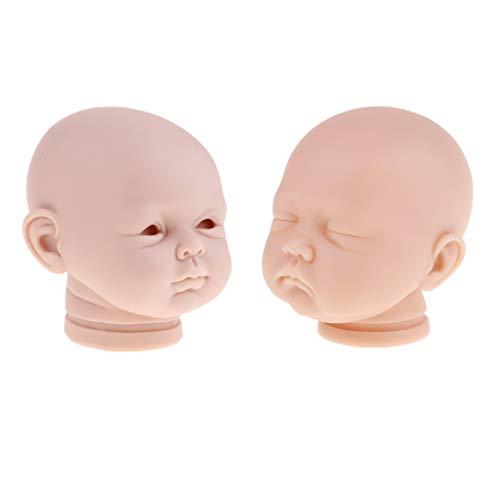 (Fityle 2pcs 20'' 22'' Soft Vinyl Realistic Baby Doll Head Sculpt Mold Reborn Unpainted Mold Custom Normal Skin Color)