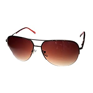 Kenneth Cole Reaction Half Rimless Aviator Sunglasses, Gold/Brown Gradient