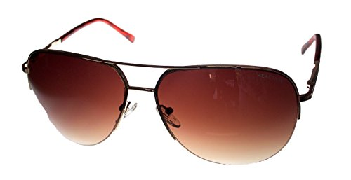 Kenneth Cole Reaction Half Rimless Aviator Sunglasses, Gold/Brown - Gradient Brown Mens Sunglasses