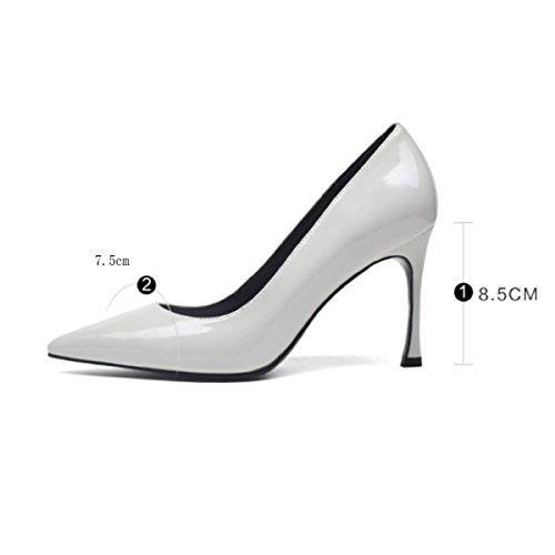 Femmes Noir Haut Talons Pointu Toe Sexy Peu Profondes En Cuir Verni Chaussures Parti Bureau Travail Cour Escarpins Lightgray gMoZEK12