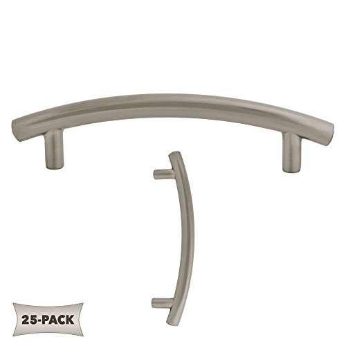 - 25 Pack Contemporary Arched Bar Kitchen Cabinet Hardware Pull 3 3/4 Inch, Satin Nickel