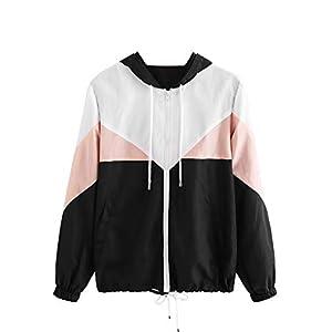 Milumia Women Color Block Drawstring Hooded Sports Jacket Zip Up Windproof Windbreaker