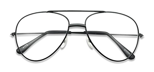 Classic Retro Optical Metal Aviator Reading Glasses Rx Strength +1.0 Thru +2.50 Spring Hinges Pilot Style (Black, - Glasses Rx Aviator
