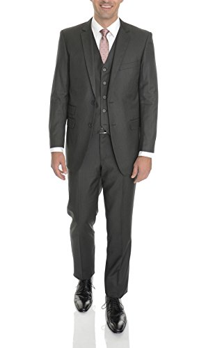 Mens Black Pinstriped - Emigre Extra Slim Fit 44R Black Pinstriped Three Piece Suit With Ticket Pocket