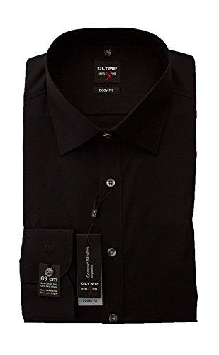 OLYMP Hemd Level 5 Five, Schwarz, Body Fit, Extra langer Arm 69cm, Bügelleicht, Comfort Stretch, New York Kent