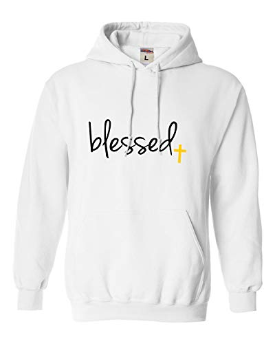 (Go All Out Large White Adult Blessed Christian Humble Sweatshirt)