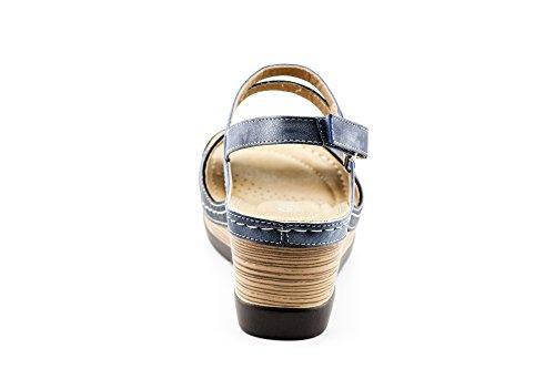 CALICO KIKI XIA-CK01 Women's Casual Peep Toe Velcro Ankle Strap Wedge Sandal Platform Shoes (8 US Navy) by CALICO KIKI (Image #5)
