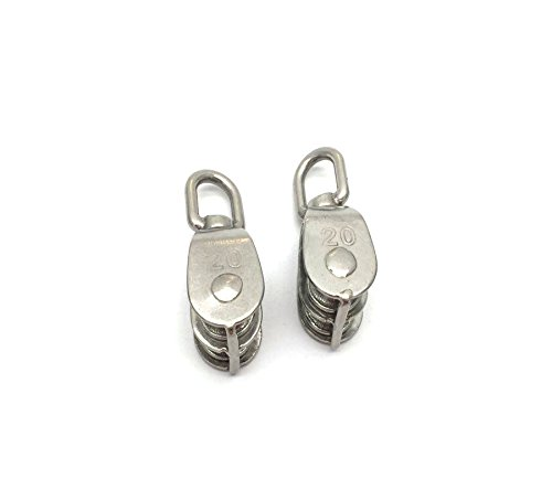 Antrader 304 Stainless Steel 2pcs M20 Wire Rope Double Swivel Sheave Crane Pulley Block Loading 75kg