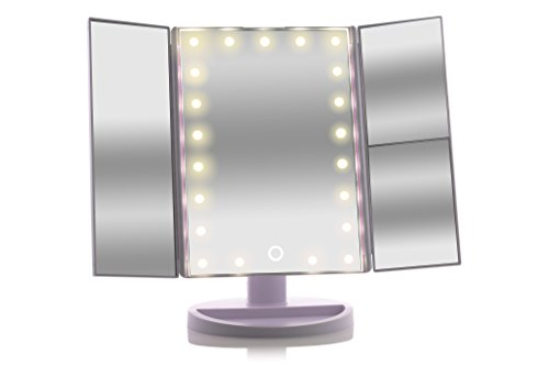 asani tri fold lighted magnification makeup mirror w 21 led lights touch screen controls 1x. Black Bedroom Furniture Sets. Home Design Ideas