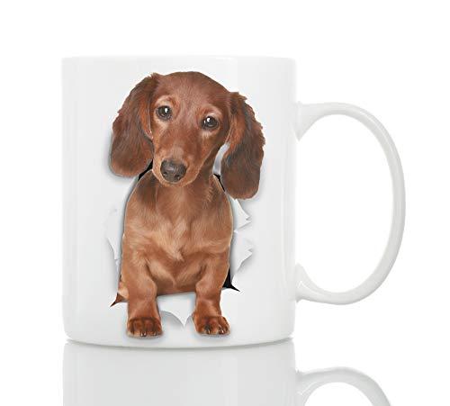 Funny Dachshund Mug - Ceramic Dachshund Coffee Mug - Perfect Dog Lover Gift - Cute Novelty Coffee Mug Present - Great Birthday or Christmas Surprise for Friend or Coworker, Men - Dachshund Cute