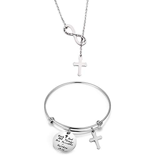 (WUSUANED with God All Things are Possible Infinity Cross Necklace Bracelet Religious Jewelry Inspirational Gift (Infinity Cross S Set))