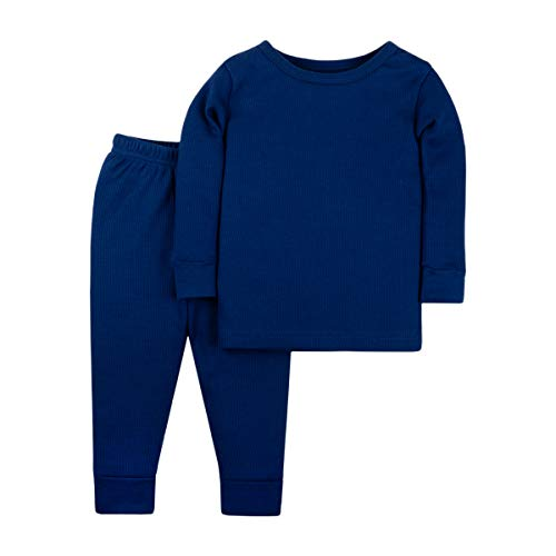 (Lamaze Organic Baby Boys Baby Organic 2 Piece Thermal Long John Set, Blue 3T )