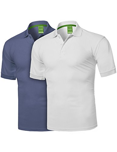 (Solid Cool Dri-Fit Active Athletic Golf Short Sleeves Polo Shirt White/Blue S)