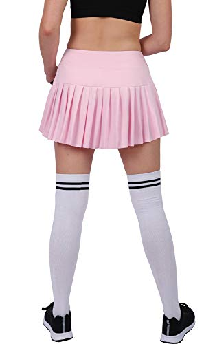 Womens Tennis Pleated Skorts Golf Workout High Waist Biult in Skirts Sports Active Wear with Pockets Light Pink ()