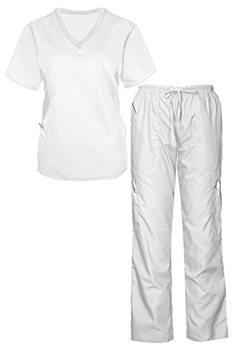 G Med Women's Side Panel Scrub Top & Pant 2 PC Fashion Sets(SET-MED,WHT-M)