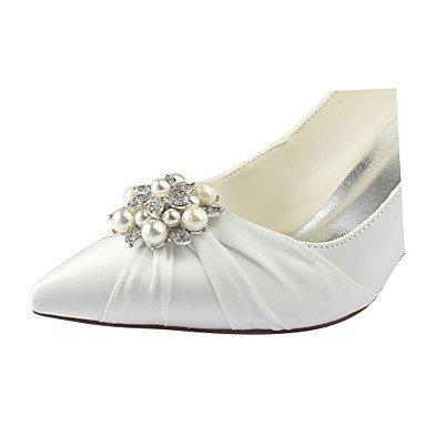 4U boda noche satén Basic beige mujer talón stiletto para caída elástico de Mejor Pearl marfil boda Zapatos Toe Crystal fiesta zapatos primavera Bomba punta Hwd1qXfx