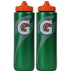Set of 2 Gatorade Leakproof Green Orange Sport Squeeze Water Bottles 20 Oz