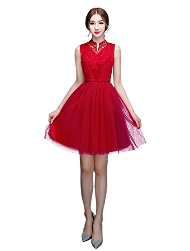 Burgunderrot Damen Kleid A Drasawee Linie wY1Zfnxfq