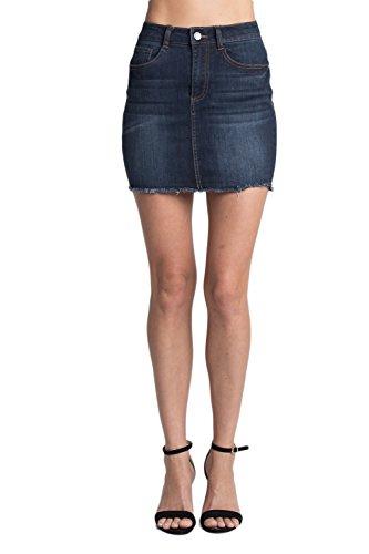 Calilogo Women's Denim Jean Distress Mini Skirt (Small, Dark Fray)