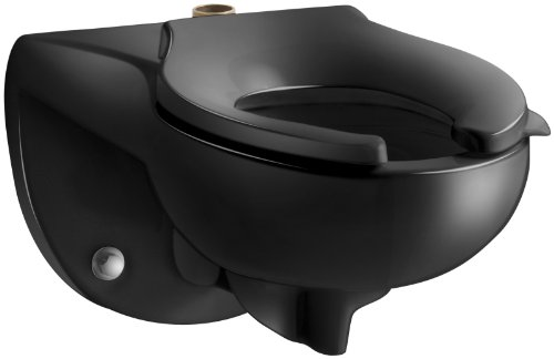 Kohler K-4325-7 Kingston 1.28 Toilet Bowl with Top Spud, Less Seat, Black Black