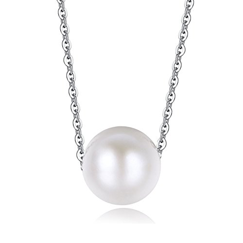 Silver Single Strand Necklace (10.0 - 10.5 mm White Round Freshwater Cultured Pearl 925 Sterling Silver Necklace with Certificate 16
