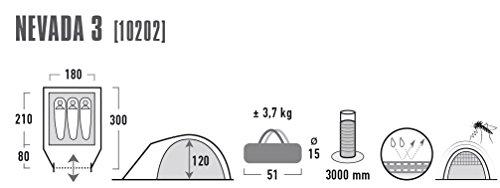 31H040CpVqL High Peak Kuppelzelt Nevada 3, Campingzelt mit Vorbau, Iglu-Zelt für 3 Personen, doppelwandig, wasserdicht…