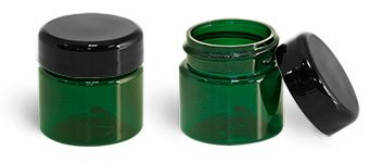 (1/2 oz. Green Plastic Straight Sided Jars with Lined Black Dome Caps (144 Bottles))