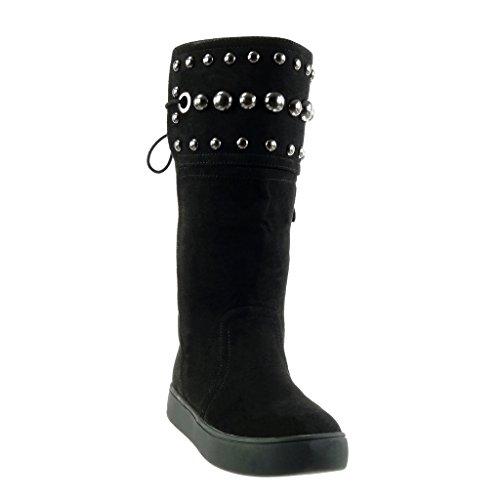 De Plateforme Perforée Bottes Bloc Perle Mode Angkorly Noir Lanière Femme Chaussure Cm Talon Botte Neige 3 wXqUwHg