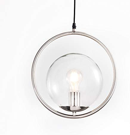Modern Ring Pendant Light Glass Globes Shade, Adjustable Height, Brushed Nickel Pendant Lighting for Kitchen Island with LED Bulb