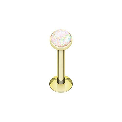 Covet Jewelry Golden Opal Glitter Shower Dome Steel Labret (16 GA, Length: 8mm, Ball: 4mm, White)
