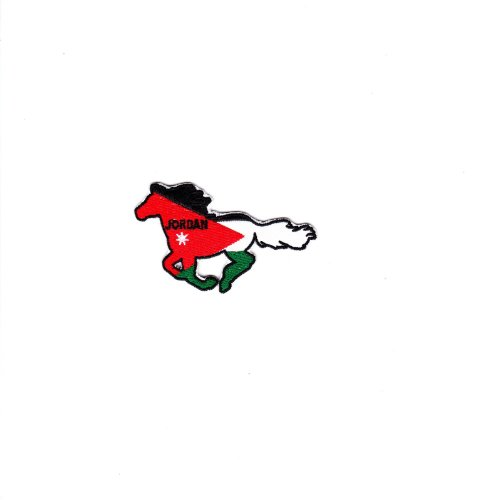 Multi Color Country National Flag Embroidered Iron on Backing Heat Seal Biker Horse Patch Applique (Jordan) ()