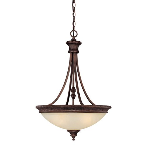 Capital Lighting 3564BB Hill House 3-Light Pendant, Burnished Bronze Finish with Mist Scavo Glass