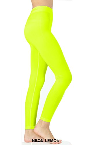 UNU Style Premium Ultra Soft Seamless Classic Leggings (Neon Lemon, L/XL) -